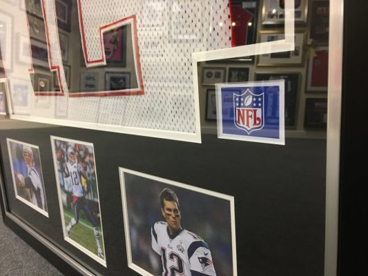 Tom Brady American Football Framed Shirt examples of framed sports memorabilia