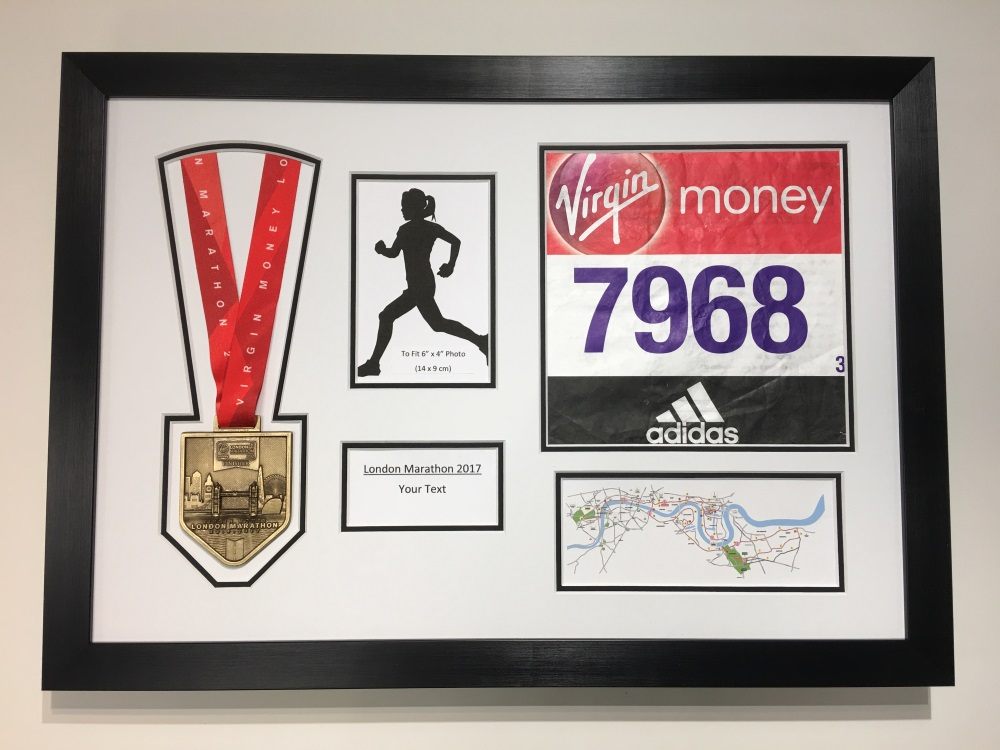 London Marathon 2018/17 Display Frame Medal / Running Number / Text ...