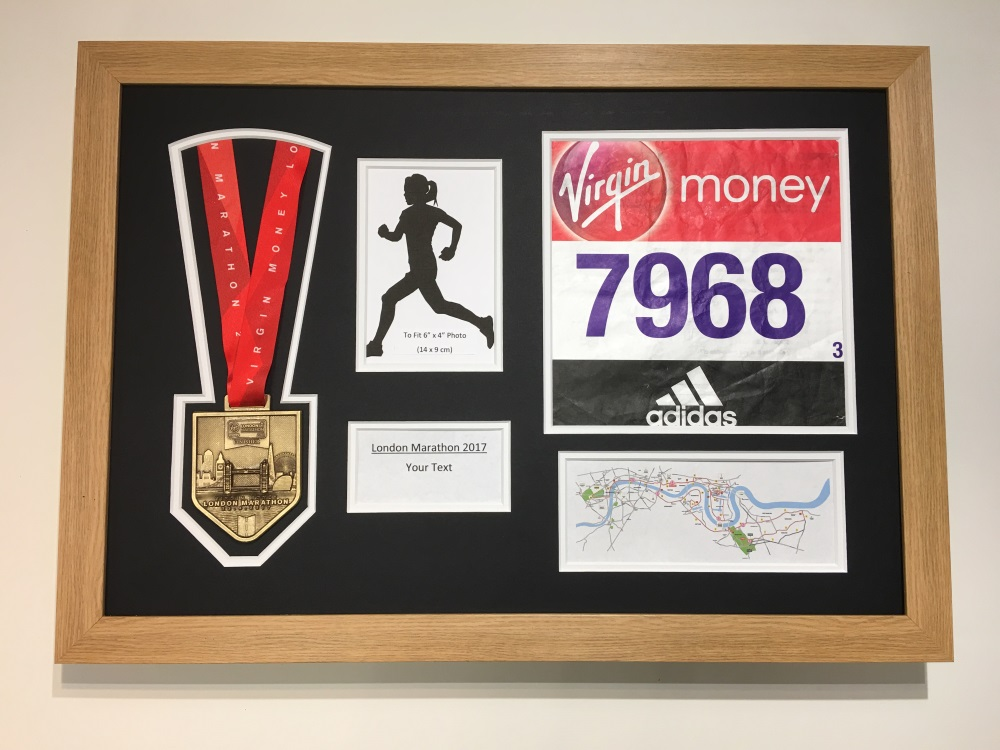 London Marathon 2018/17 Display Frame Medal / Running Number / Text ...