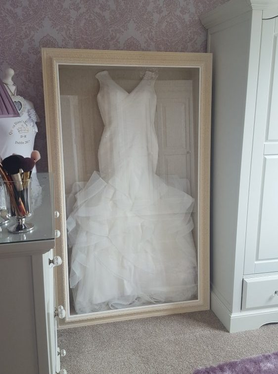 Wedding dress frame framing guru picture framing for Wedding dresses for small frames