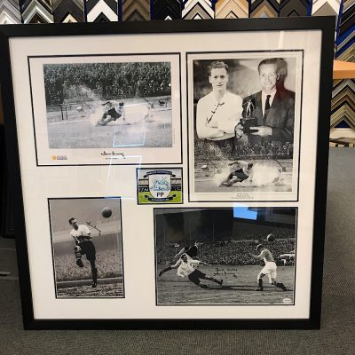 Preston North End Legend Tom Finney Signed and Framed Photo Montage.